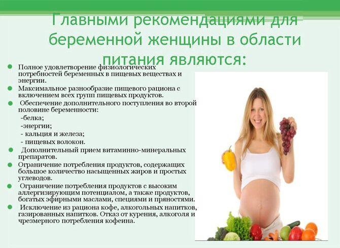 Рекомендации по питанию беременным