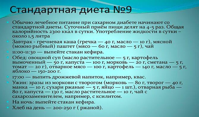 Стандартная диета №9